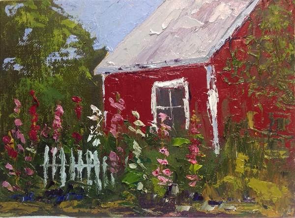 Red Shed and Hollyhocks