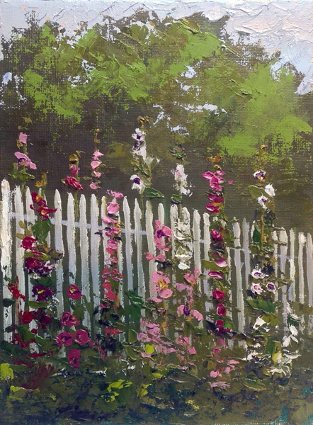 White Fence and Hollyhocks